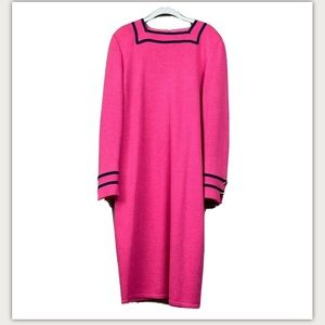 St. John pink Santana knit midi dress star cuff 12